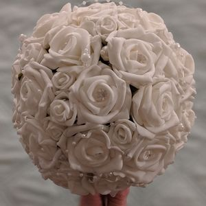 White Rose Pearl and Crystal Handmade Bouquets